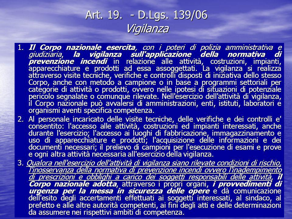 Art. 19. - D.Lgs. 139/06 Vigilanza