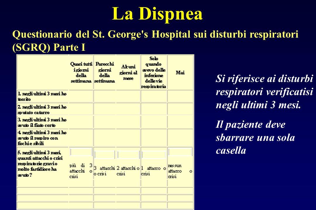 La Dispnea Questionario del St. George s Hospital sui disturbi respiratori (SGRQ) Parte I.