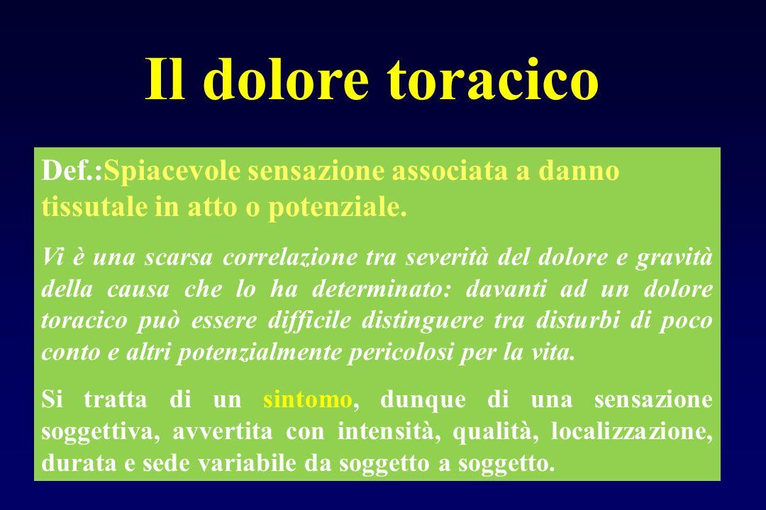 Il dolore toracico Def.:Spiacevole sensazione associata a danno tissutale in atto o potenziale.