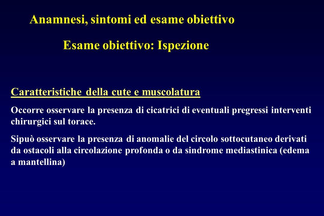 Anamnesi, sintomi ed esame obiettivo