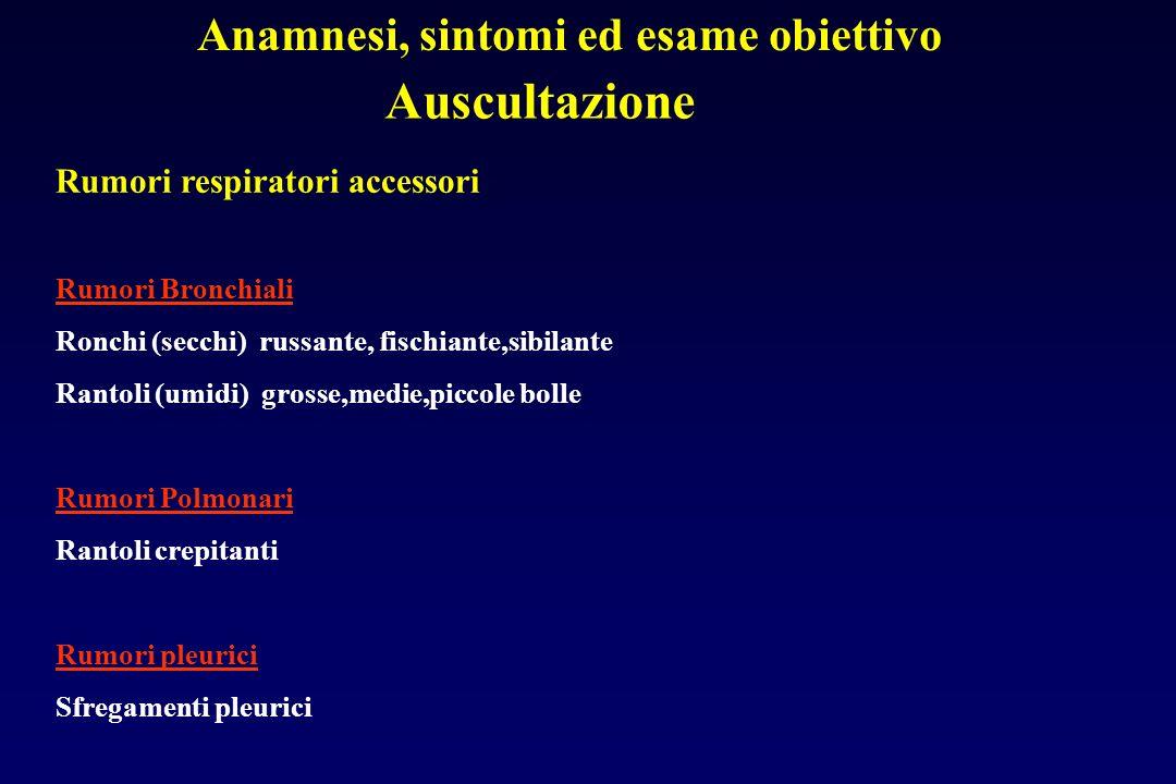 Auscultazione Anamnesi, sintomi ed esame obiettivo