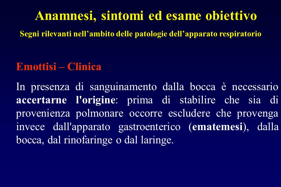 Segni rilevanti nell'ambito delle patologie dell'apparato respiratorio