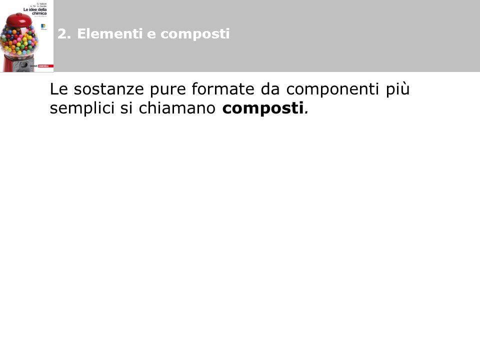 2. Elementi e composti Le sostanze pure formate da componenti più semplici si chiamano composti.