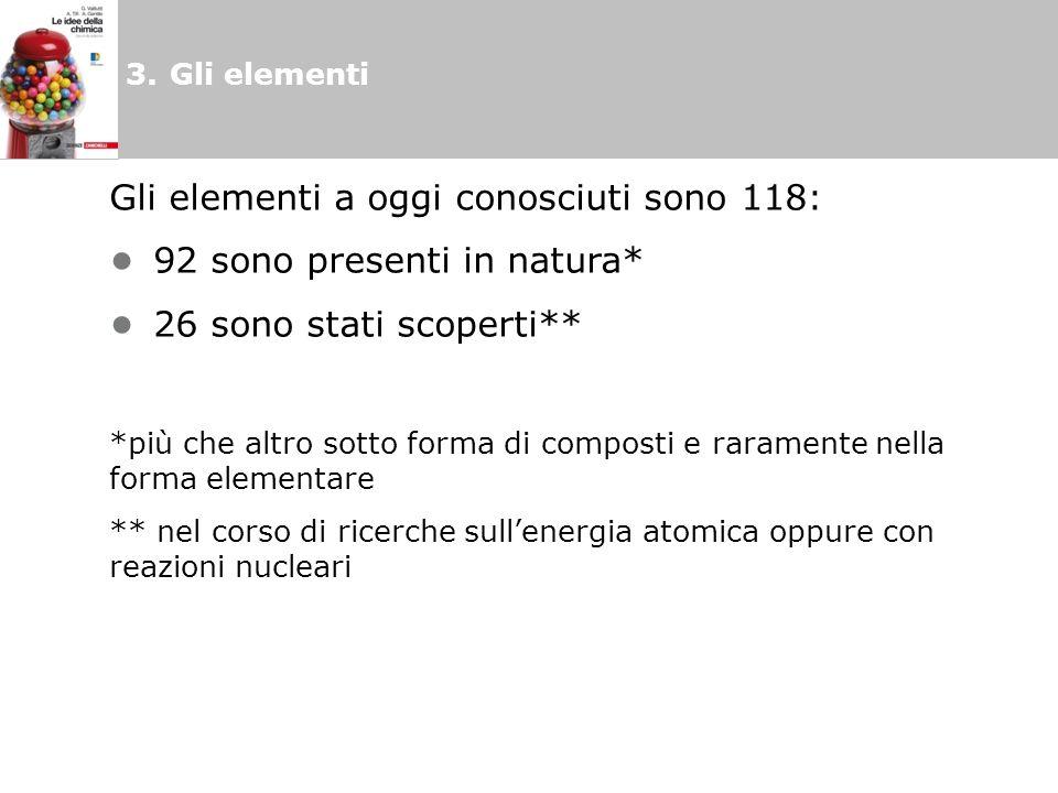 Gli elementi a oggi conosciuti sono 118: • 92 sono presenti in natura*