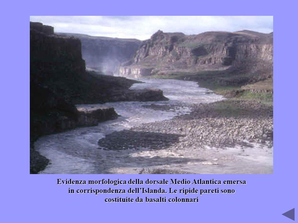 Evidenza morfologica della dorsale Medio Atlantica emersa in corrispondenza dell'Islanda. Le ripide pareti sono costituite da basalti colonnari