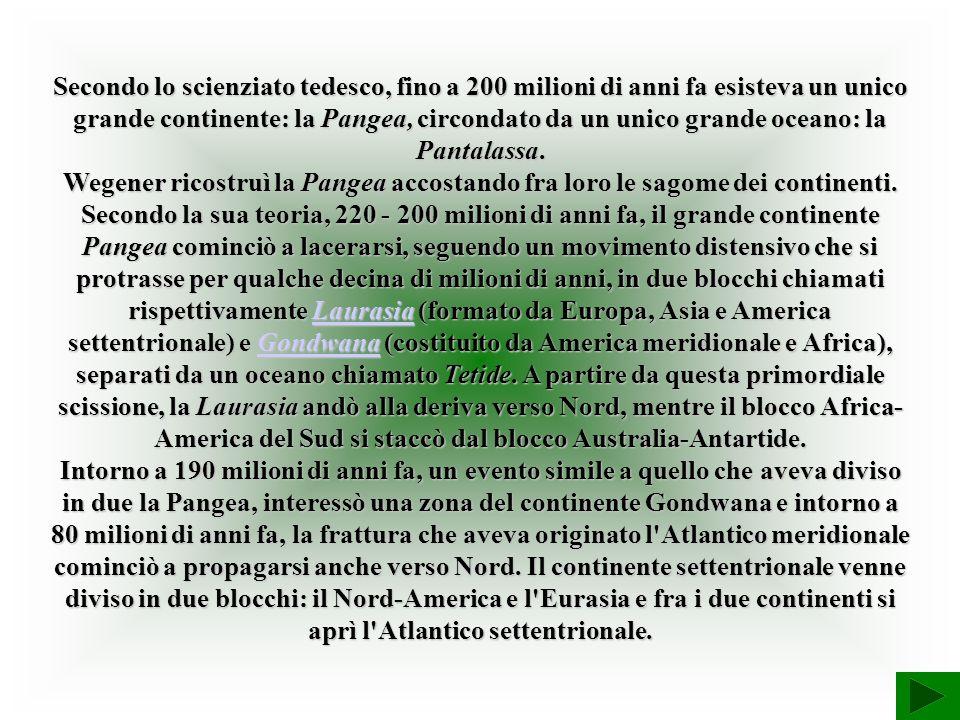 Secondo lo scienziato tedesco, fino a 200 milioni di anni fa esisteva un unico grande continente: la Pangea, circondato da un unico grande oceano: la Pantalassa.