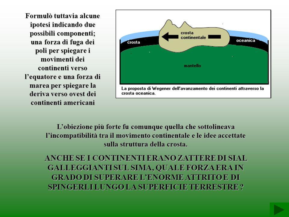 Formulò tuttavia alcune ipotesi indicando due possibili componenti; una forza di fuga dei poli per spiegare i movimenti dei continenti verso l'equatore e una forza di marea per spiegare la deriva verso ovest dei continenti americani