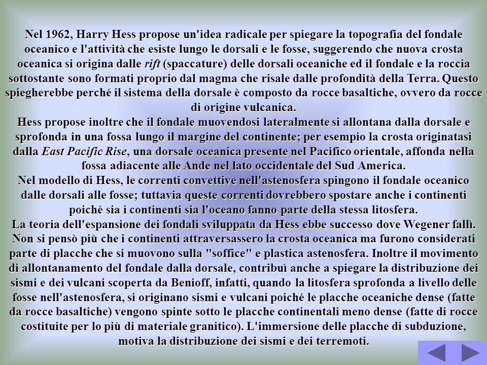Nel 1962, Harry Hess propose un idea radicale per spiegare la topografia del fondale oceanico e l attività che esiste lungo le dorsali e le fosse, suggerendo che nuova crosta oceanica si origina dalle rift (spaccature) delle dorsali oceaniche ed il fondale e la roccia sottostante sono formati proprio dal magma che risale dalle profondità della Terra. Questo spiegherebbe perché il sistema della dorsale è composto da rocce basaltiche, ovvero da rocce di origine vulcanica.