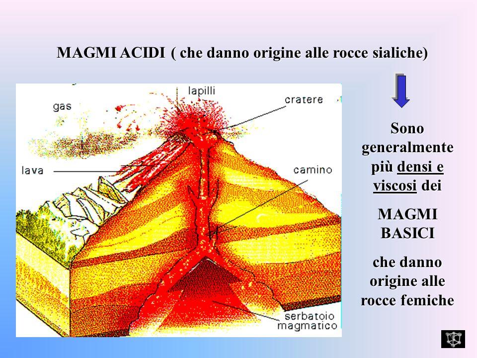MAGMI ACIDI ( che danno origine alle rocce sialiche)