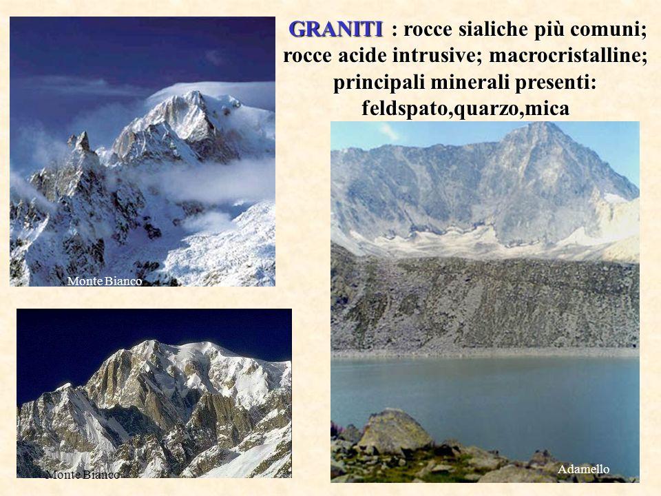 GRANITI : rocce sialiche più comuni; rocce acide intrusive; macrocristalline; principali minerali presenti: feldspato,quarzo,mica