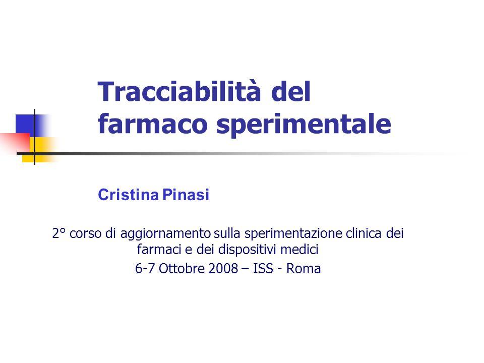 Tracciabilità del farmaco sperimentale