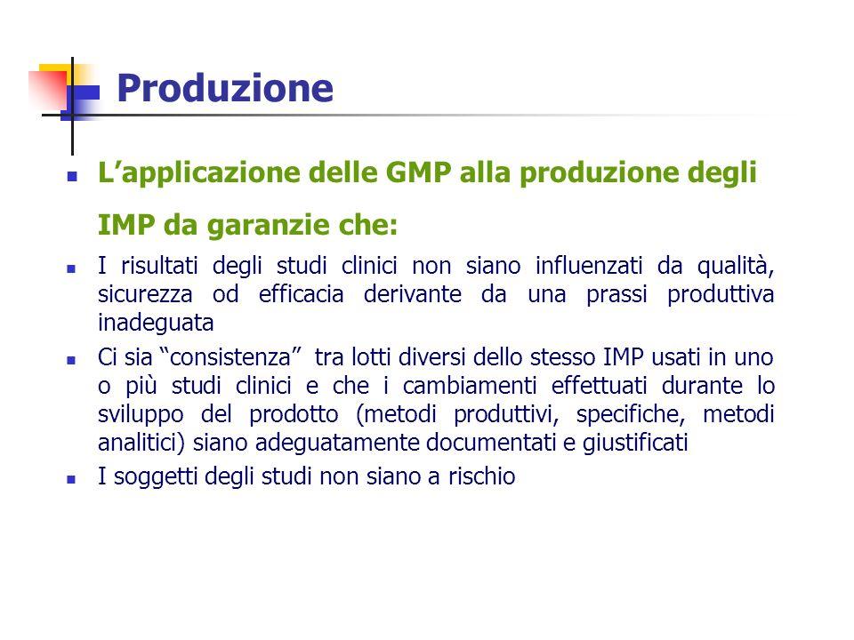 Produzione L'applicazione delle GMP alla produzione degli IMP da garanzie che: