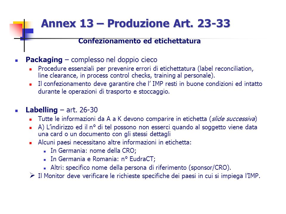 Annex 13 – Produzione Art. 23-33