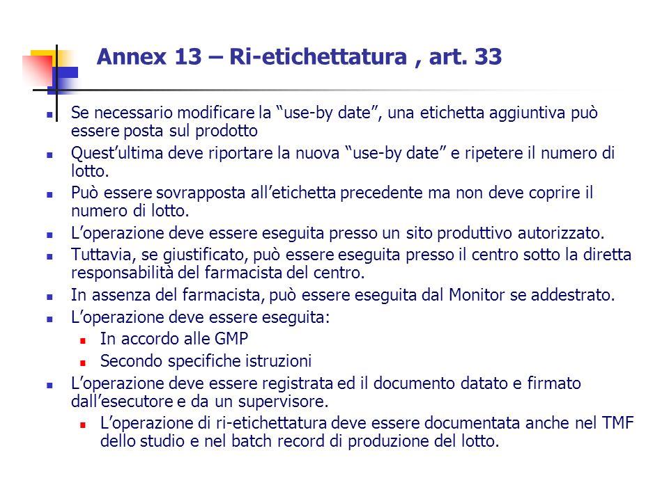 Annex 13 – Ri-etichettatura , art. 33
