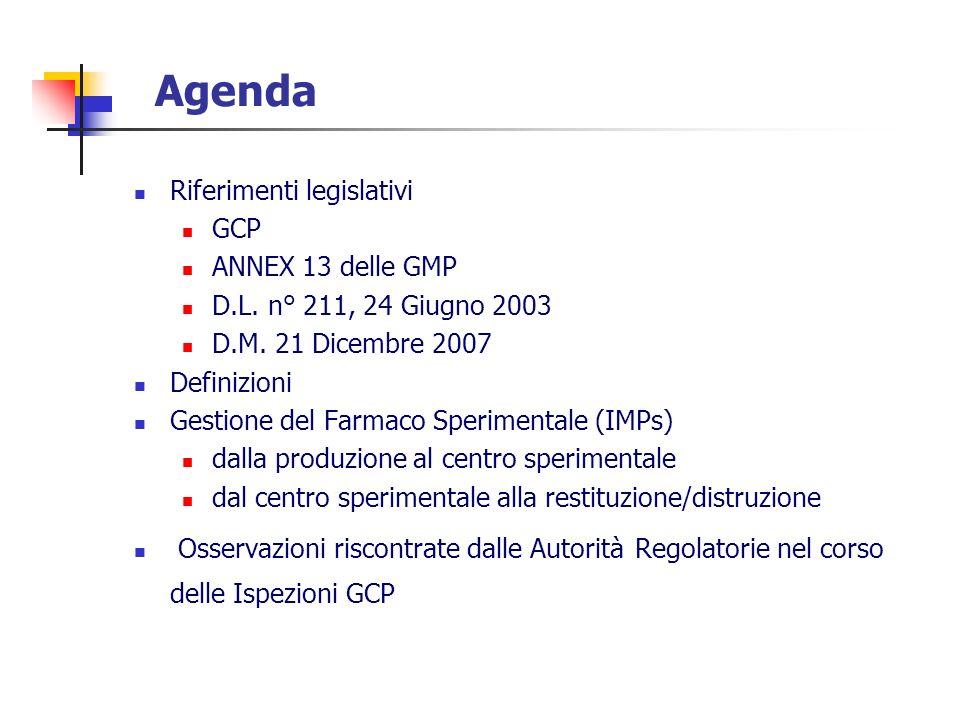 Agenda Riferimenti legislativi GCP ANNEX 13 delle GMP