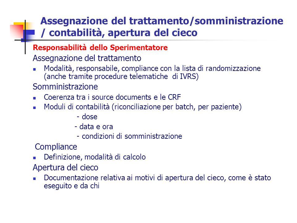 Assegnazione del trattamento/somministrazione / contabilità, apertura del cieco