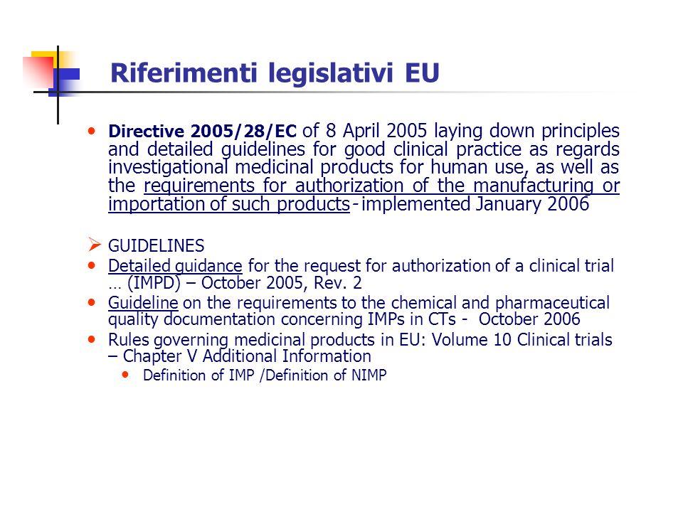 Riferimenti legislativi EU