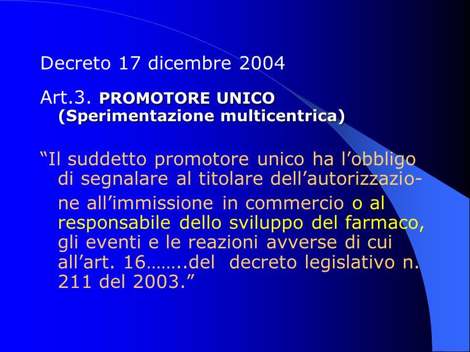 Decreto 17 dicembre 2004 Art.3. PROMOTORE UNICO (Sperimentazione multicentrica)