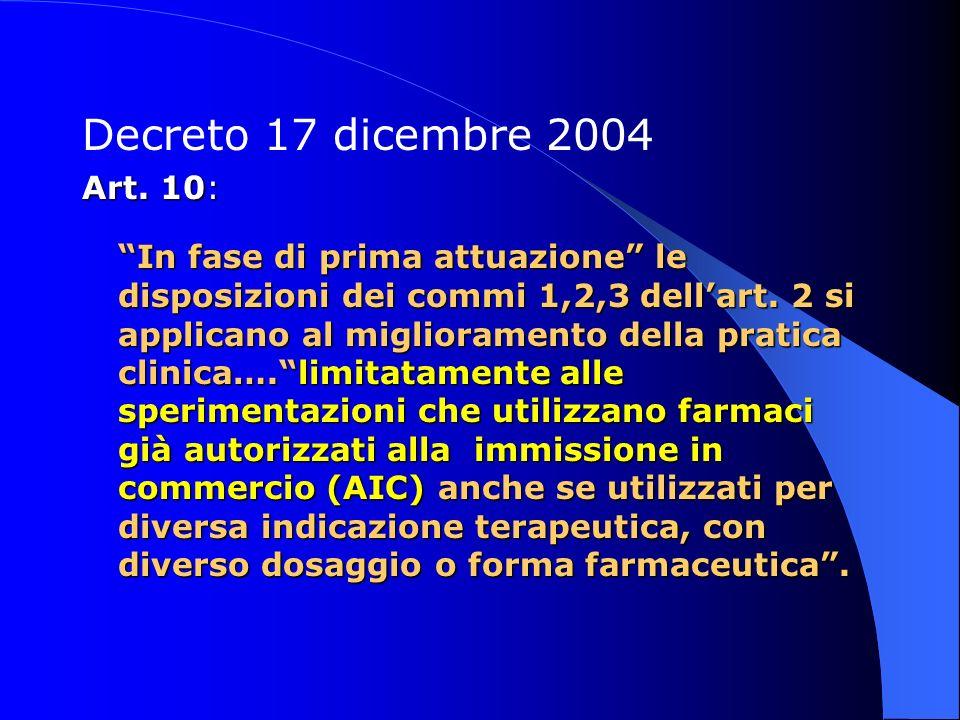 Decreto 17 dicembre 2004 Art. 10: