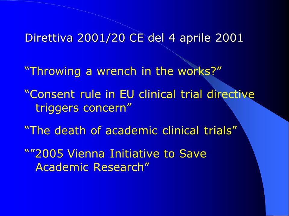Direttiva 2001/20 CE del 4 aprile 2001