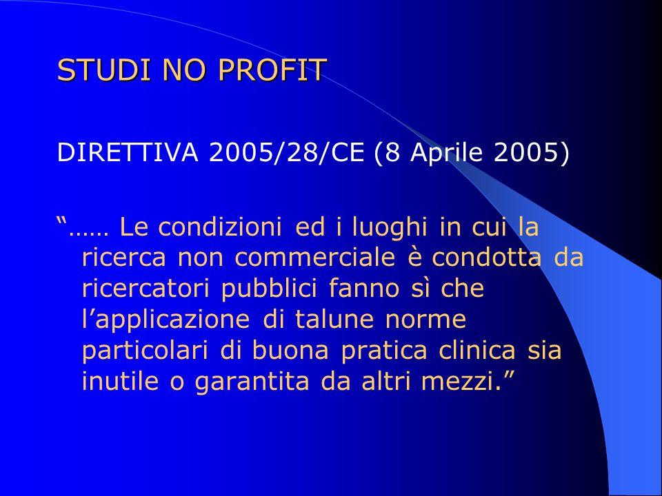 STUDI NO PROFIT DIRETTIVA 2005/28/CE (8 Aprile 2005)
