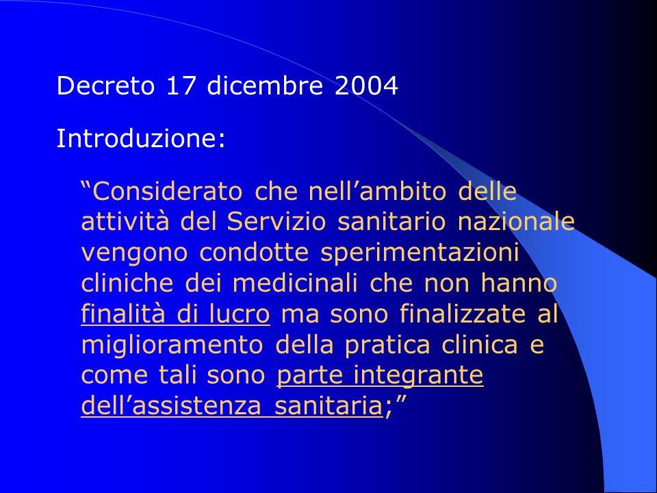 Decreto 17 dicembre 2004 Introduzione: