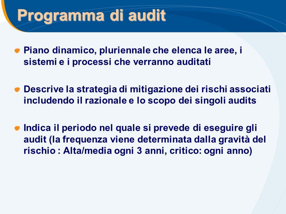 Programma di audit Piano dinamico, pluriennale che elenca le aree, i sistemi e i processi che verranno auditati.