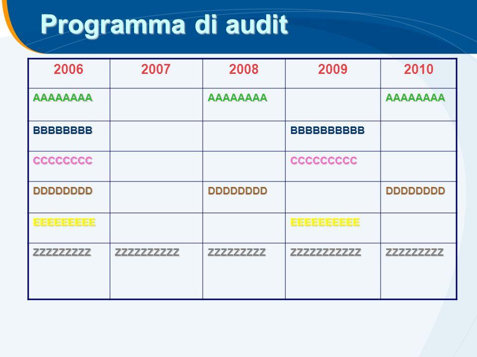 Programma di audit 2006 2007 2008 2009 2010 AAAAAAAA BBBBBBBB