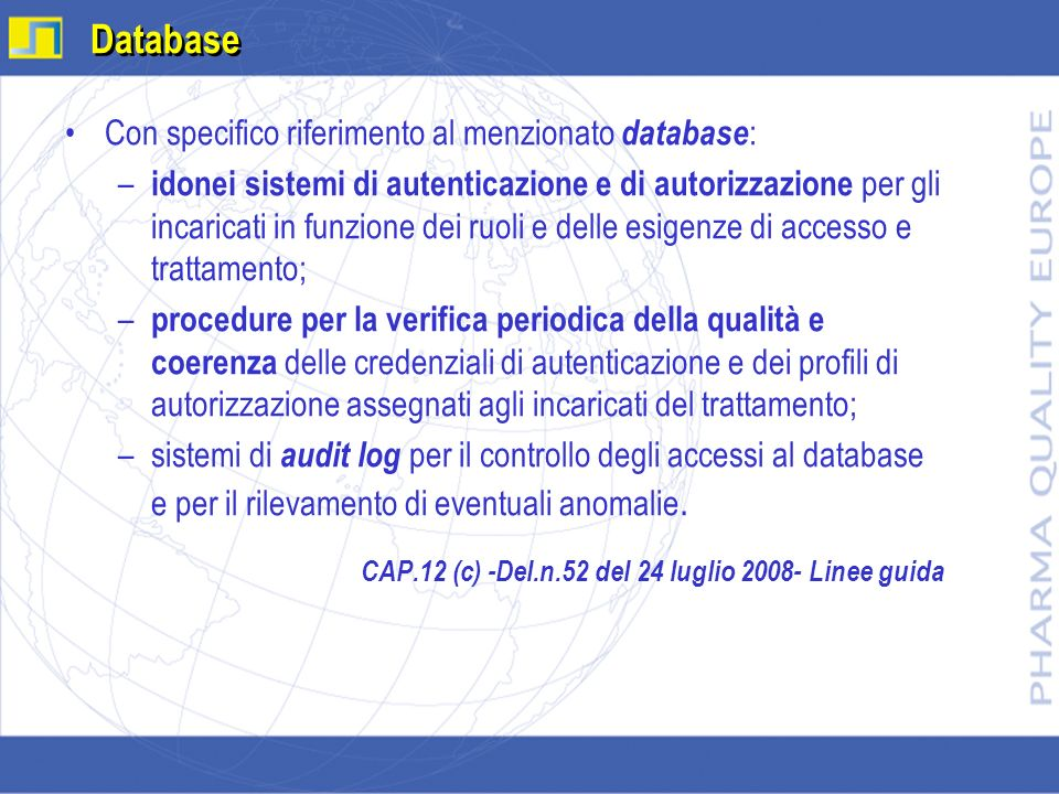 Database Con specifico riferimento al menzionato database:
