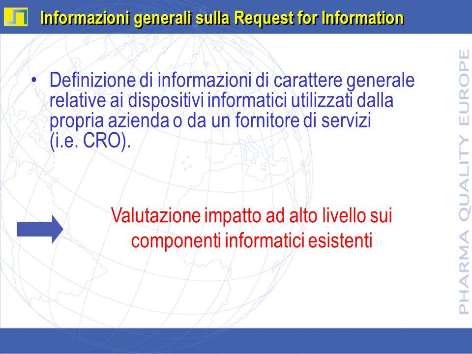 Informazioni generali sulla Request for Information