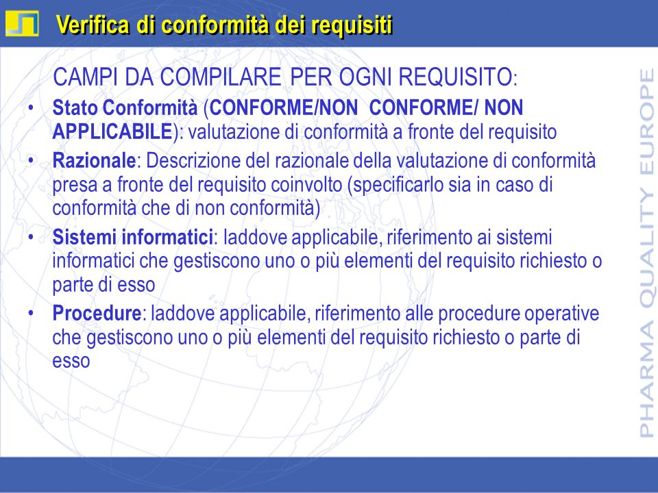 Verifica di conformità dei requisiti