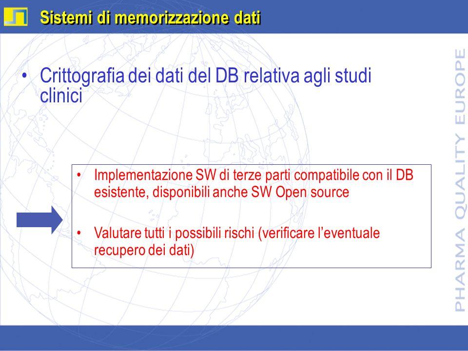 Crittografia dei dati del DB relativa agli studi clinici