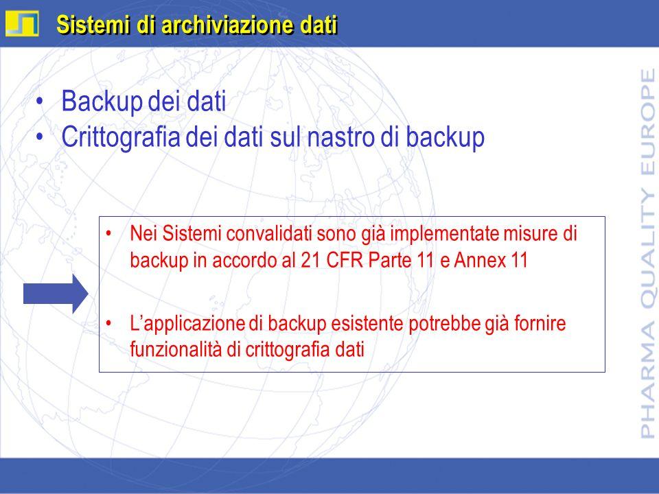 Crittografia dei dati sul nastro di backup