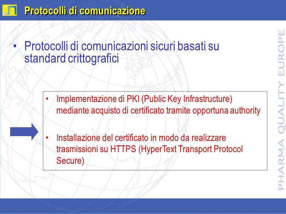 Protocolli di comunicazioni sicuri basati su standard crittografici