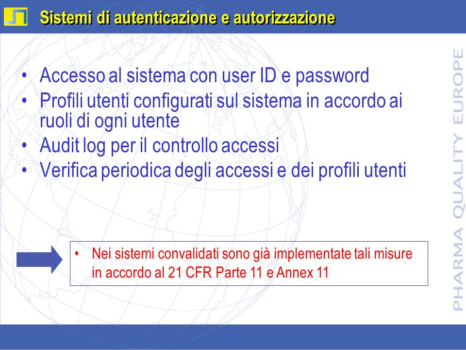 Accesso al sistema con user ID e password