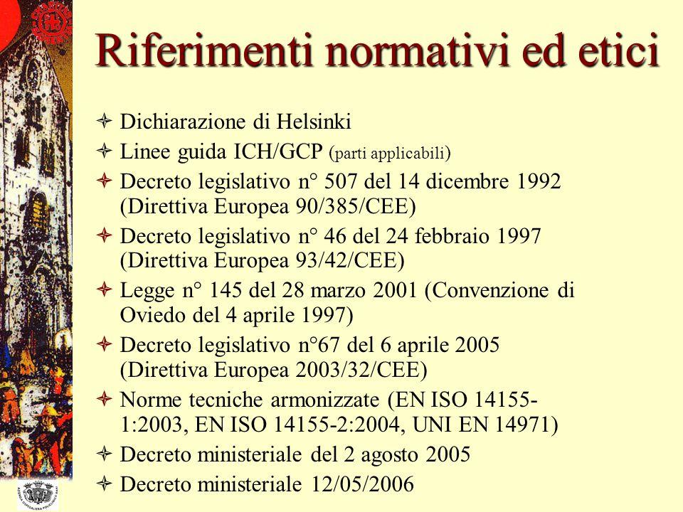 Riferimenti normativi ed etici