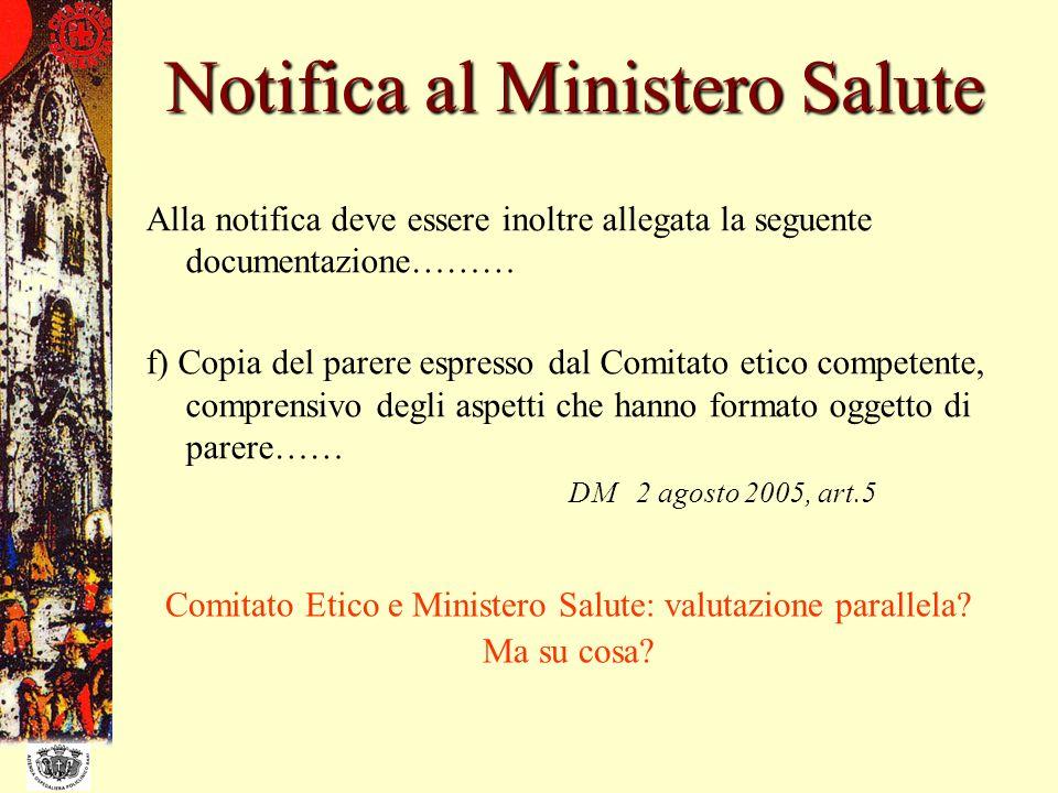 Notifica al Ministero Salute