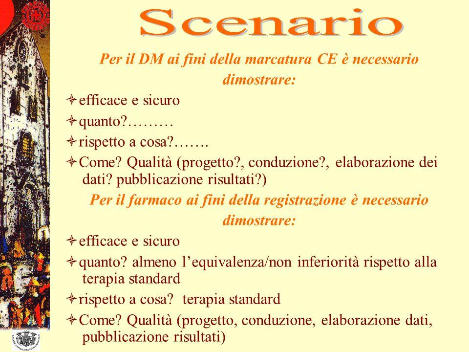 Scenario Per il DM ai fini della marcatura CE è necessario dimostrare: