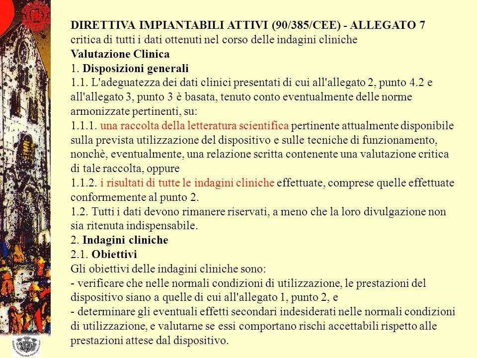DIRETTIVA IMPIANTABILI ATTIVI (90/385/CEE) - ALLEGATO 7