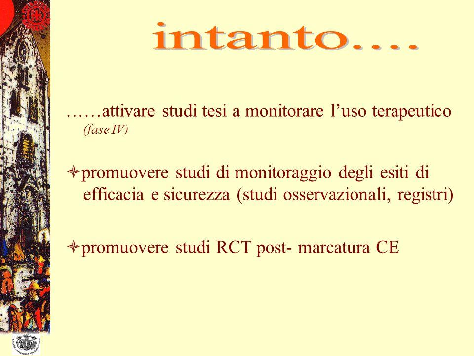 intanto....……attivare studi tesi a monitorare l'uso terapeutico (fase IV)