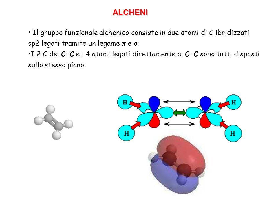 ALCHENI Il gruppo funzionale alchenico consiste in due atomi di C ibridizzati sp2 legati tramite un legame p e s.