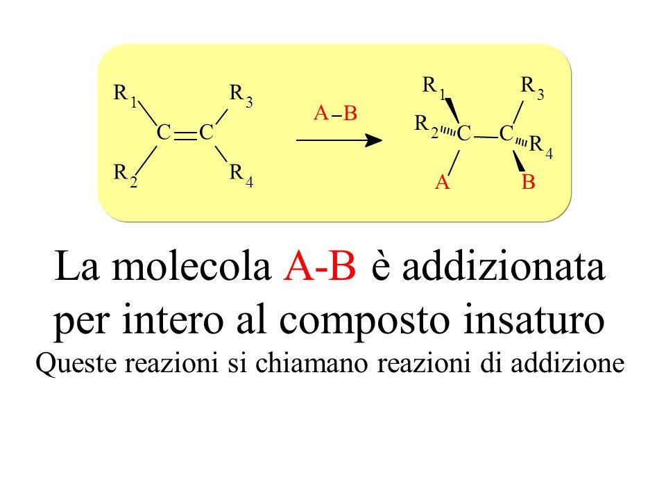 La molecola A-B è addizionata per intero al composto insaturo