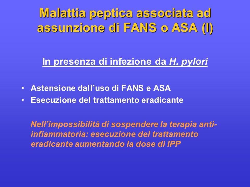 Malattia peptica associata ad assunzione di FANS o ASA (I)