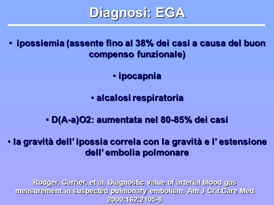 alcalosi respiratoria D(A-a)O2: aumentata nel 80-85% dei casi