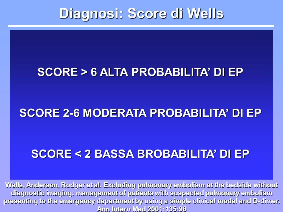 Diagnosi: Score di Wells