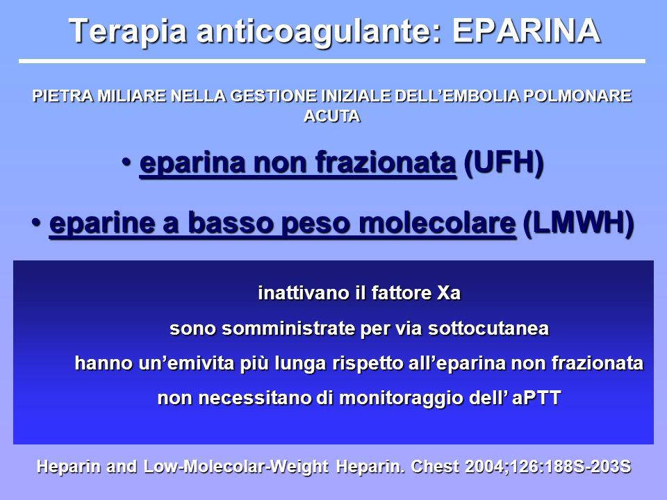 Terapia anticoagulante: EPARINA