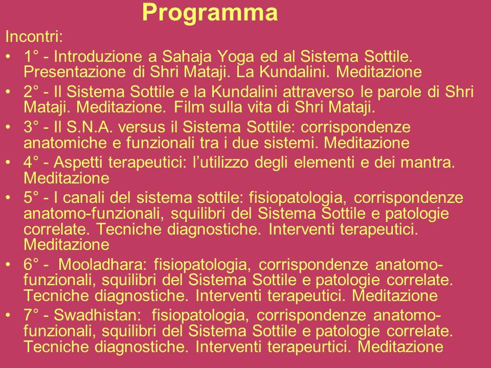 ProgrammaIncontri: 1° - Introduzione a Sahaja Yoga ed al Sistema Sottile. Presentazione di Shri Mataji. La Kundalini. Meditazione.