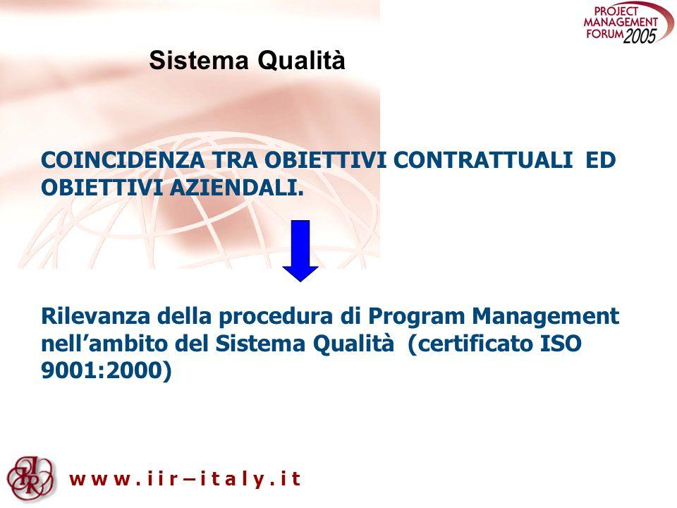 Sistema Qualità COINCIDENZA TRA OBIETTIVI CONTRATTUALI ED OBIETTIVI AZIENDALI.