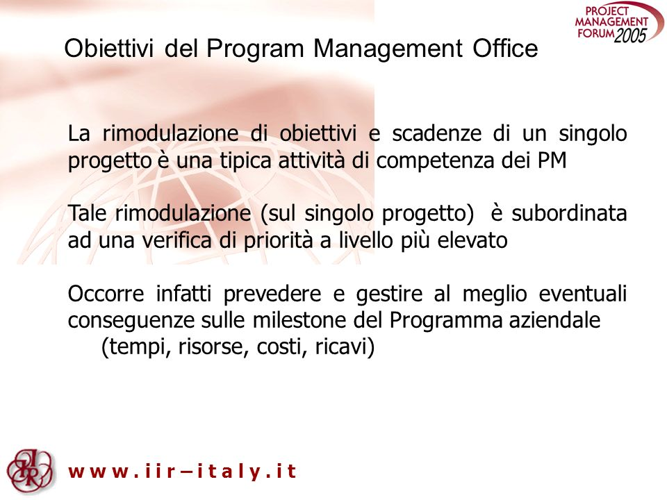 Obiettivi del Program Management Office