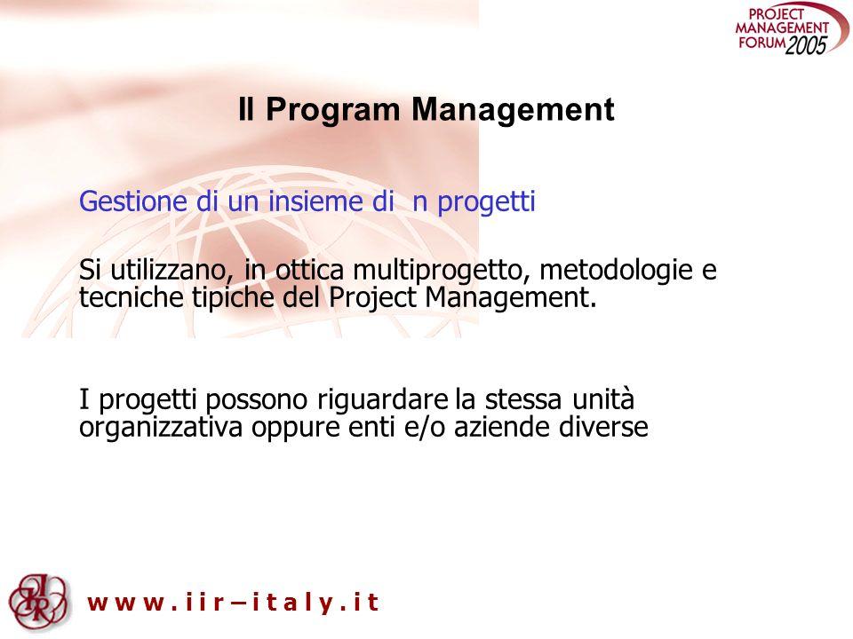 Il Program Management Gestione di un insieme di n progetti